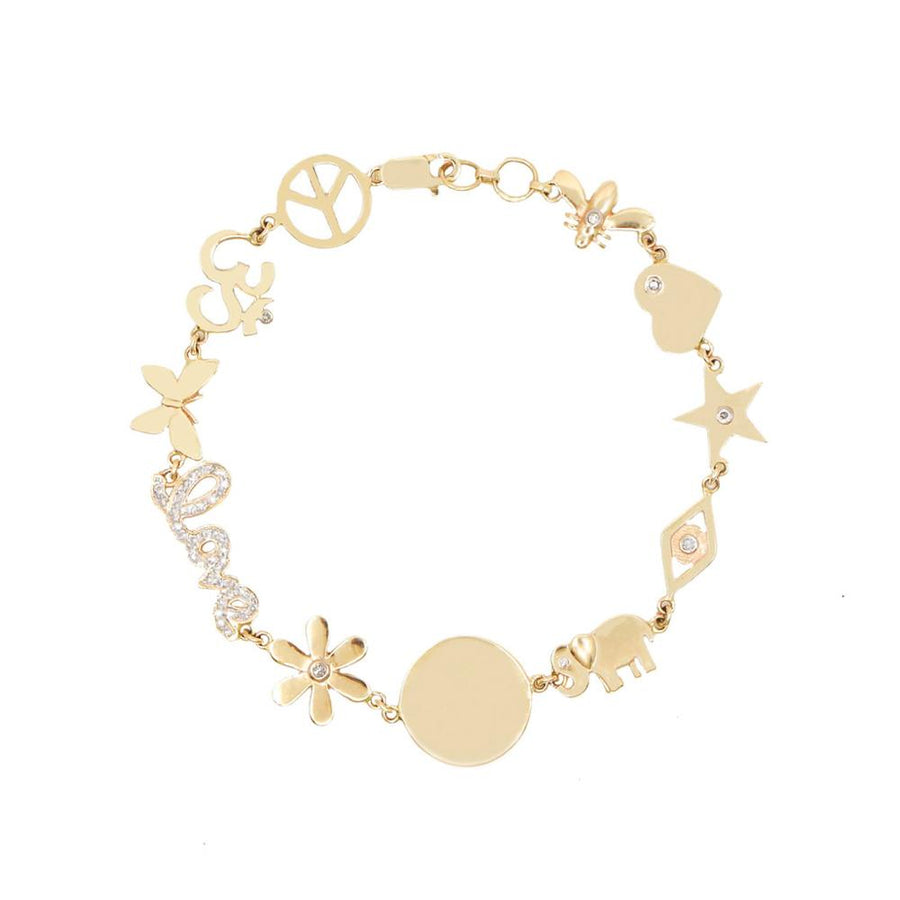 Feel Good Charm Bracelet - 14KT Gold - Monisha Melwani Jewelry