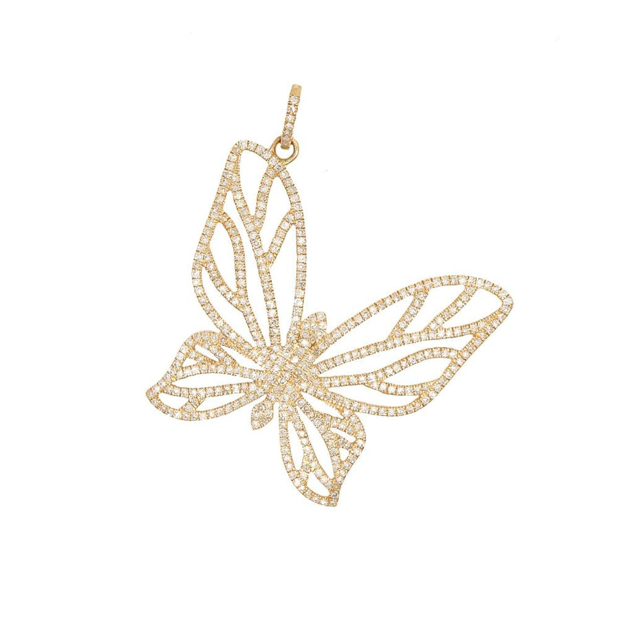 Gold Cutout Diamond Butterfly Pendant - 14KT Gold - Monisha Melwani Jewelry