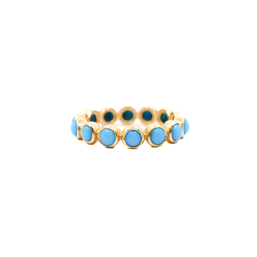 18KT Gold Turquoise Band Ring- Monisha Melwani Jewelry