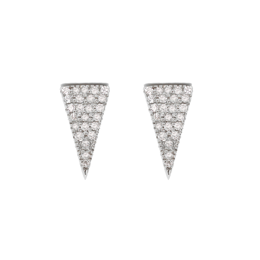 14KT White Gold Diamond Long Triangle Earrings Fine Jewelry