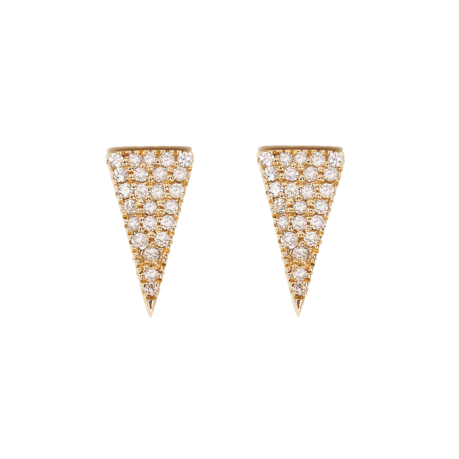 Gold Diamond Long Triangle Earrings