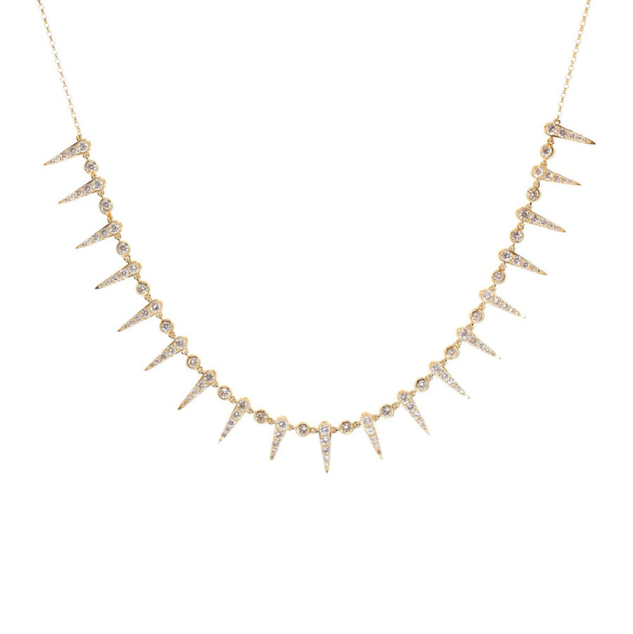 Diamond Spike Bezel Necklace
