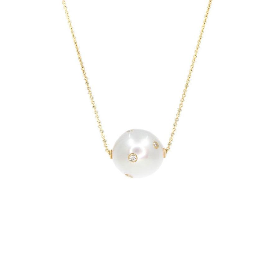 Round Mother of Pearl Diamond Necklace - 14KT Gold - Monisha Melwani Jewelry