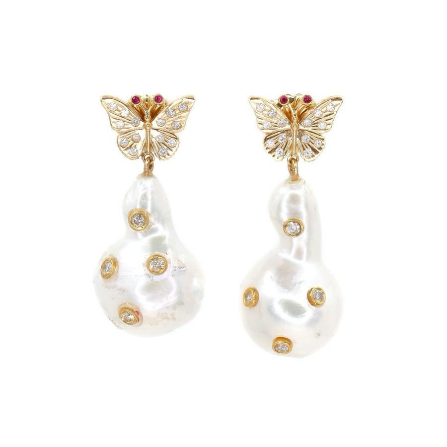 Diamond Butterfly Baroque Pearl Earrings  - 14KT Gold - Monisha Melwani Jewelry