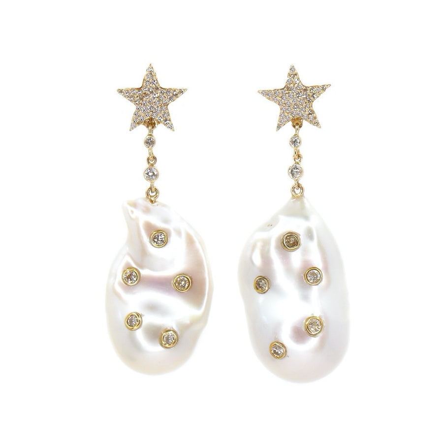 Diamond Star Baroque Pearl Earrings - 14KT Gold - Monisha Melwani Jewelry