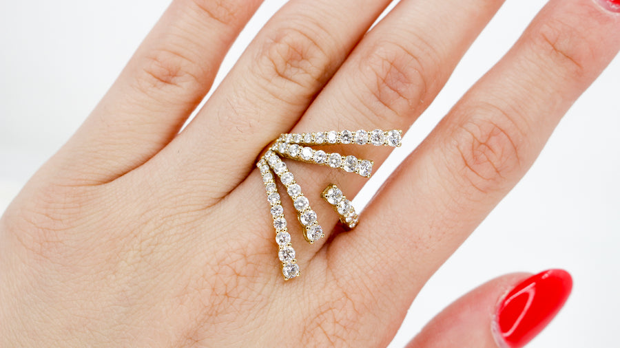 18KT Yellow Gold Diamond Multi Line Open Ring- Monisha Melwani Jewelry