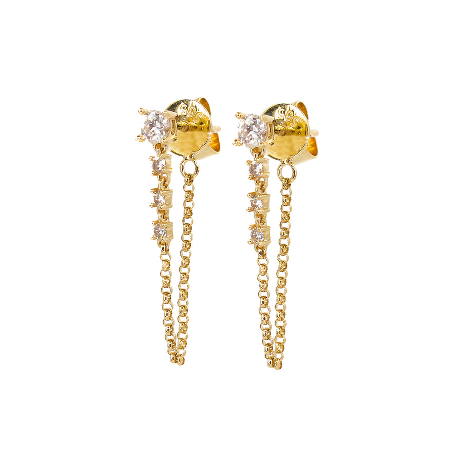 Diamond Chain Drop Earrings  - 14KT Gold - Monisha Melwani Jewelry