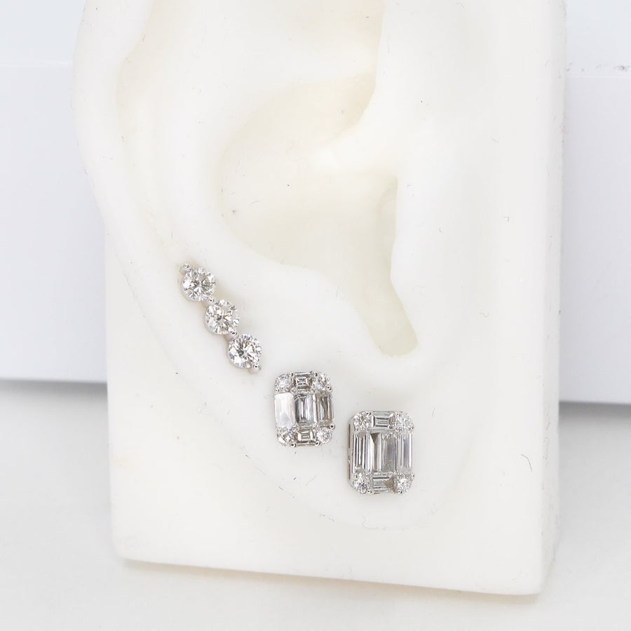 Emerald Cut Diamond Stud Earrings