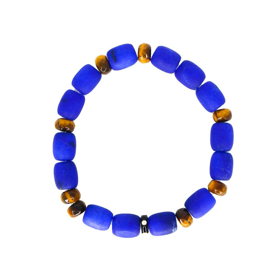 Lapis & Tiger Eye Gold Enamel Diamond Bracelet - 14KT Gold - Monisha Melwani Jewelry
