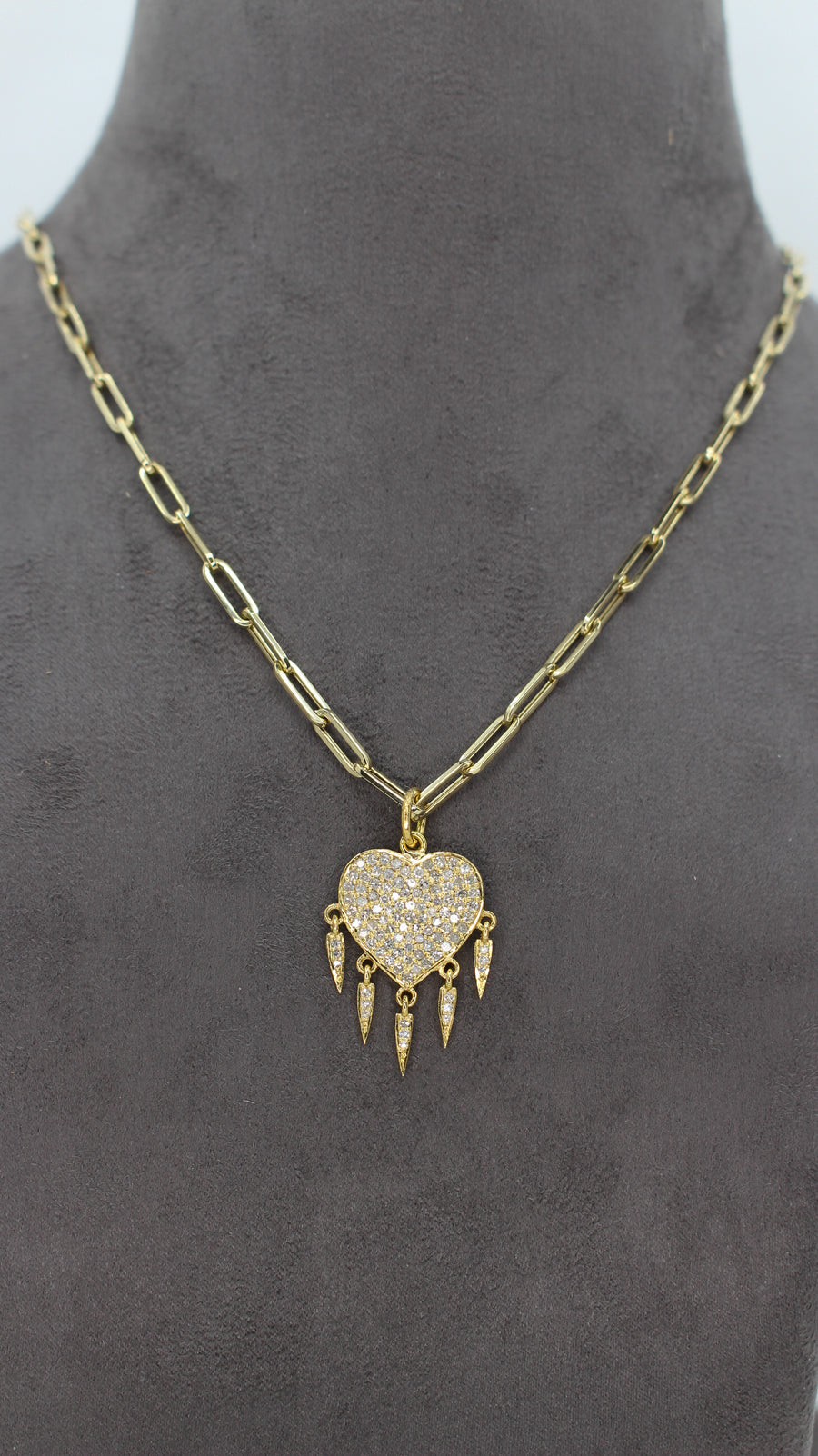 14KT Yellow Gold Diamond Heart Dangling Pendant- Monisha Melwani Jewelry