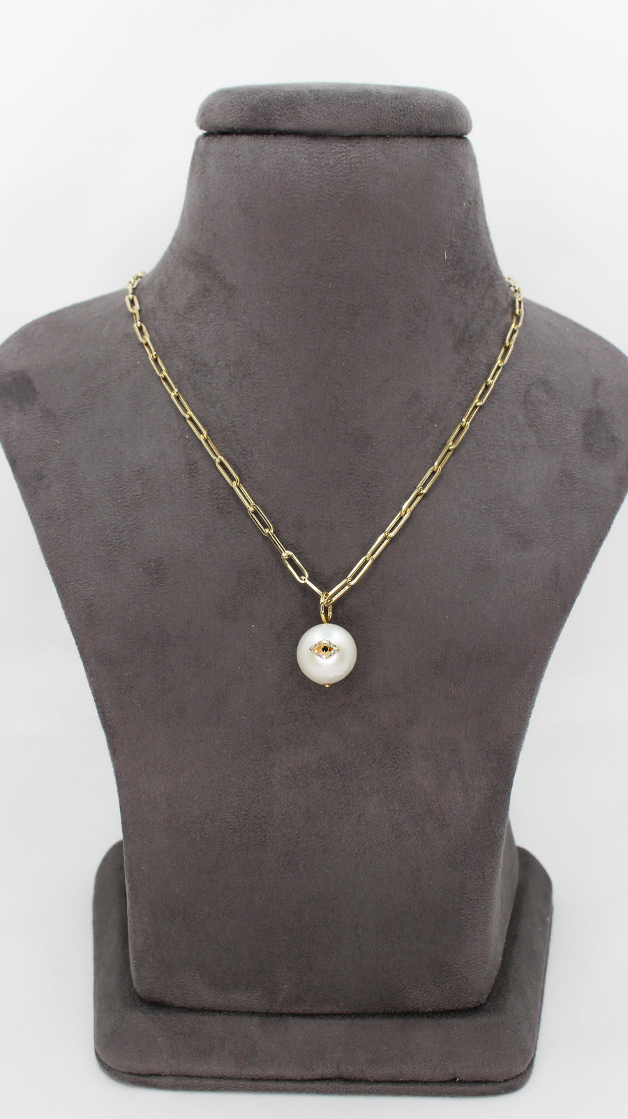 14KT Yellow Gold Diamond Evil Eye Pearl Pendant- Monisha Melwani Jewelry