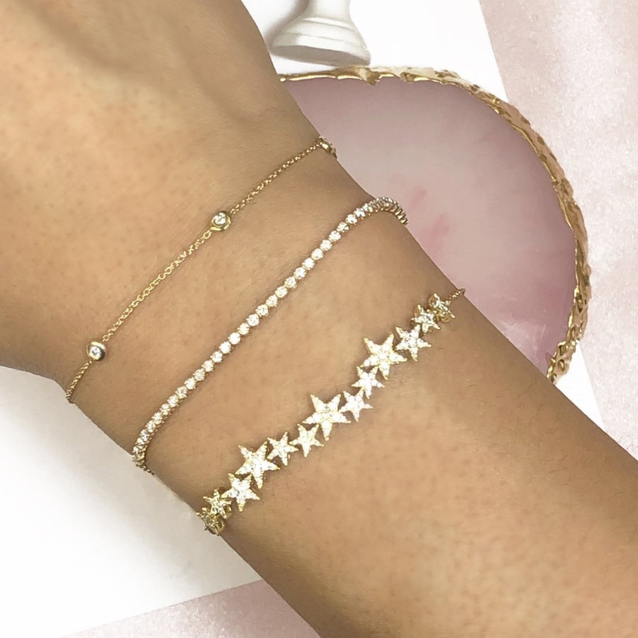 Gold Multi Star Diamond Bracelet - 18KT Gold - Monisha Melwani Jewelry