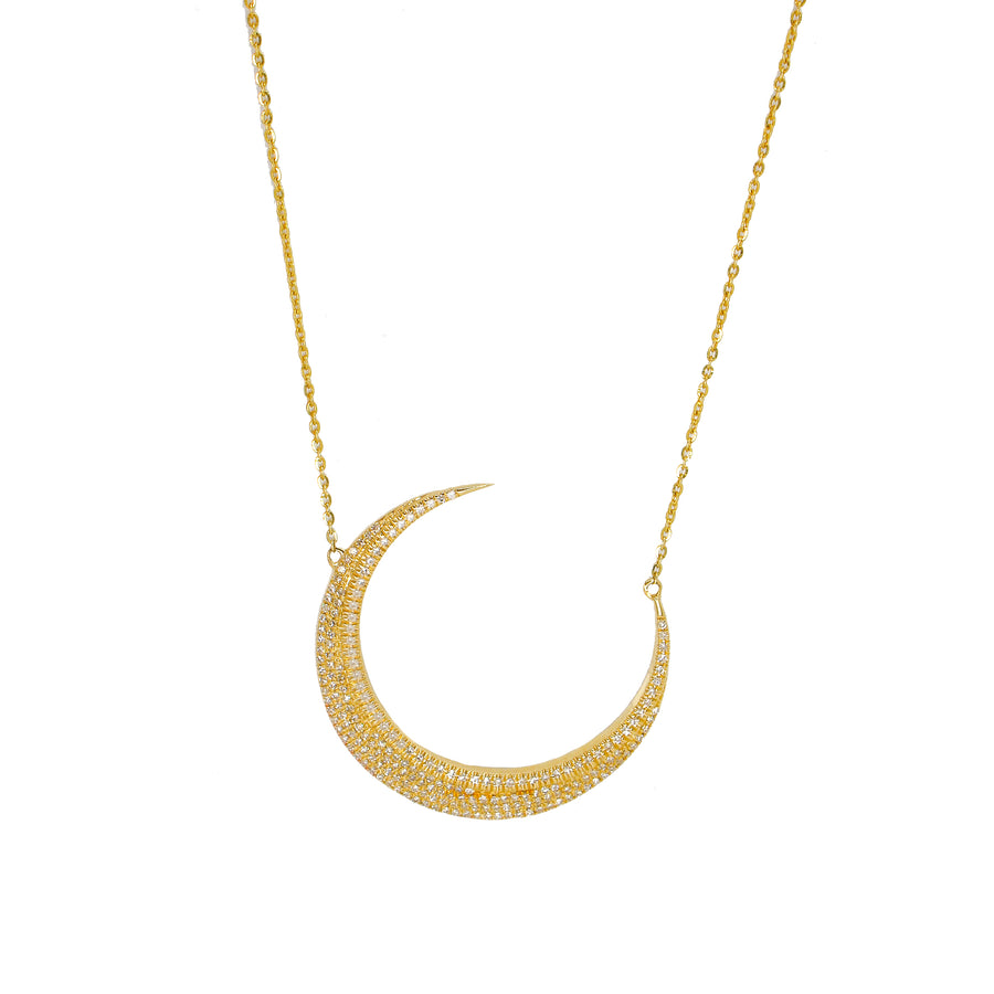 Diamond Large Crescent Moon Pendant - 14kT Gold - Monisha Melwani Jewelry