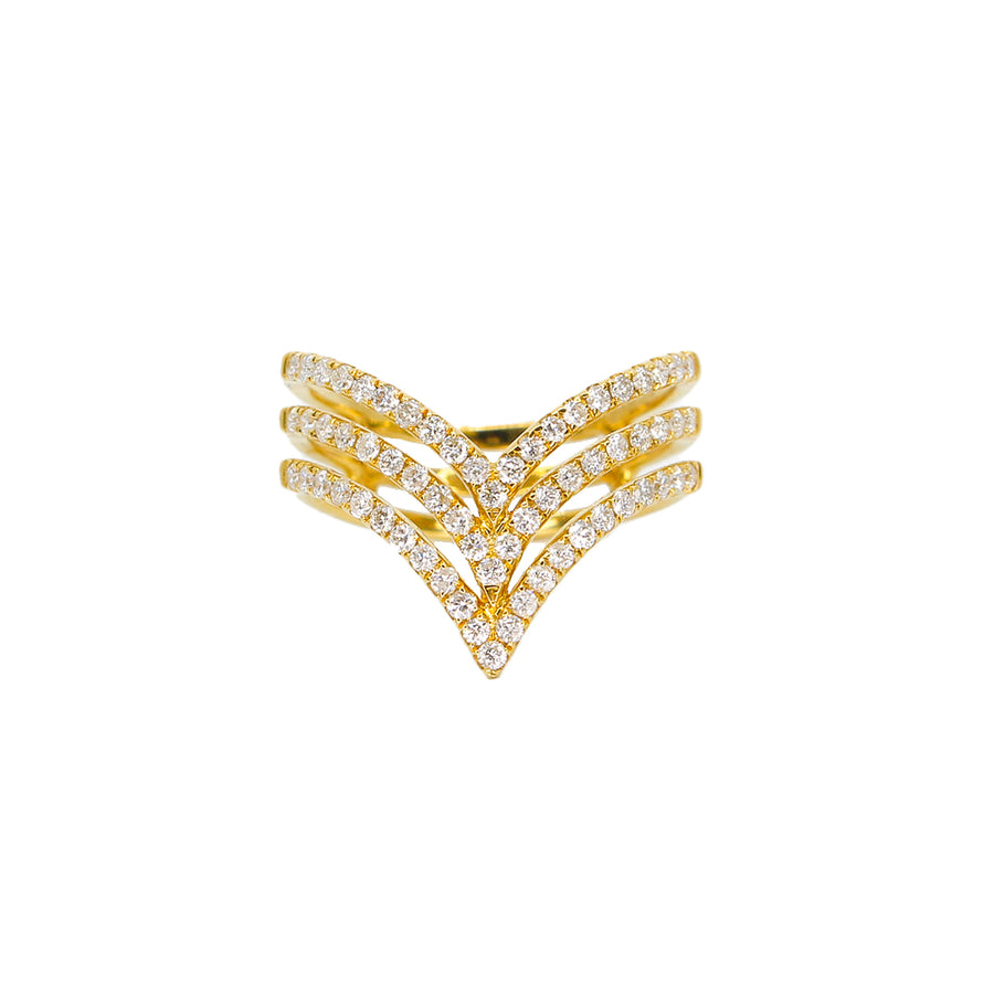 Gold Triple Chevron Diamond Ring-18KT-Monisha Melwani Jewelry