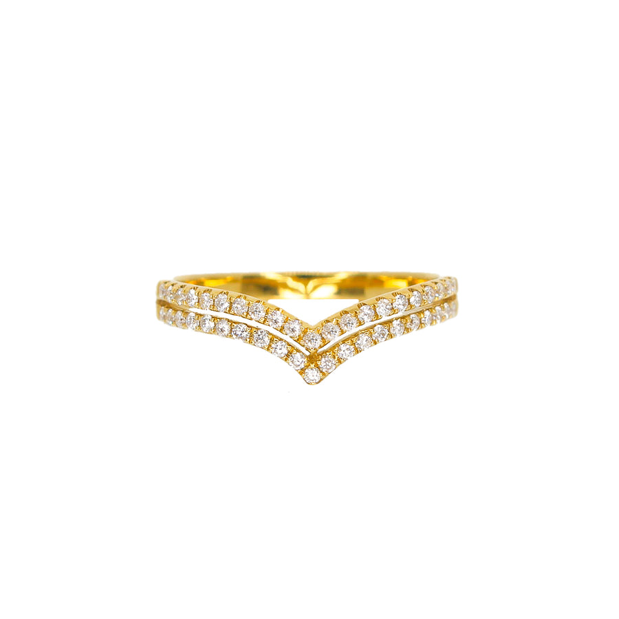 Gold Double Diamond Chevron Ring- 18KT- Monisha Melwani Jewelry