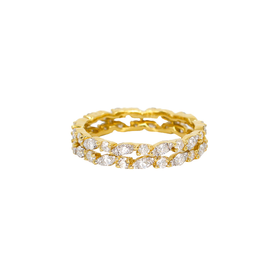 Gold Double Row Diamond Ring-18KT-Monisha Melwani Jewelry