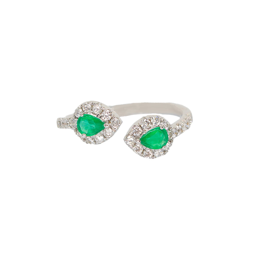 Gold Diamond and Emerald Pear Cut Open Ring- 18KT- Monisha Melwani Jewelry