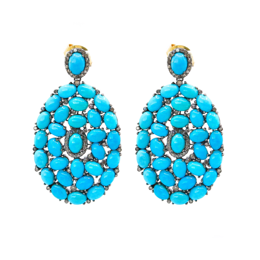 Diamond Turquoise Oval Earrings - Sterling Silver - Monisha Melwani Jewelry