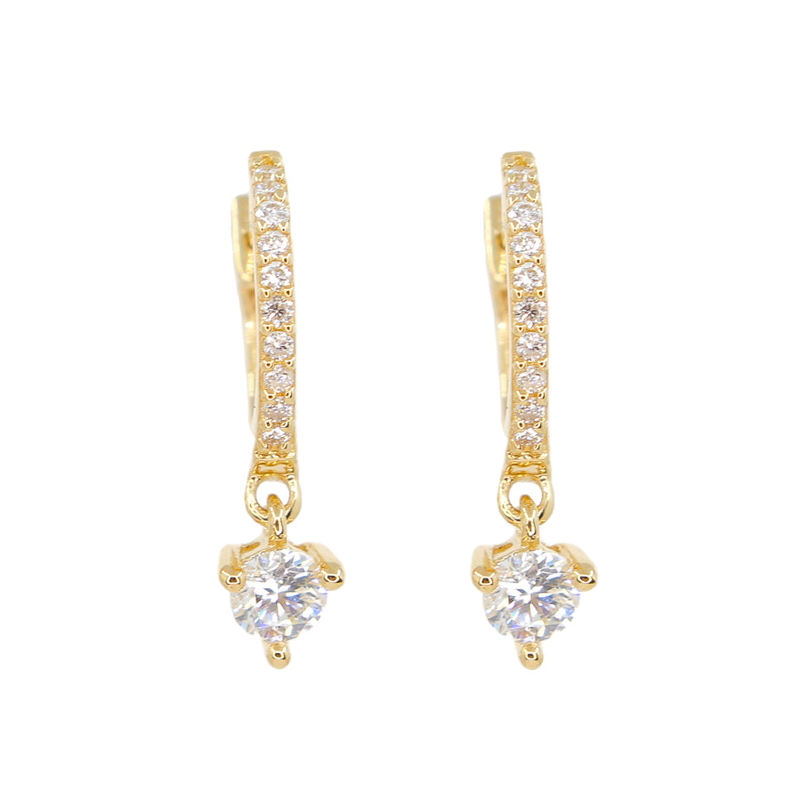 Diamond Prong Mini Hoops - 14KT Gold - Monisha Melwani Jewelry -