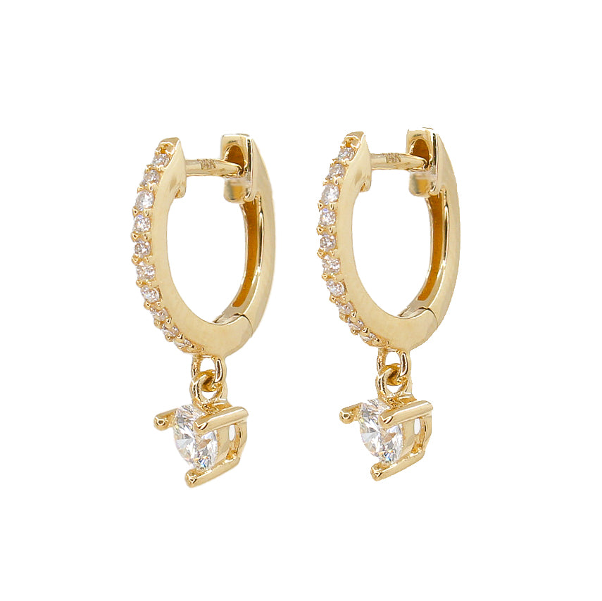 Diamond Prong Mini Hoops - 14KT Gold - Monisha Melwani Jewelry