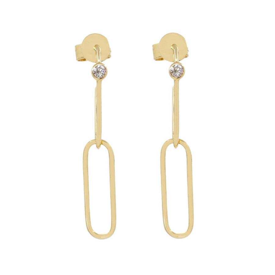 Gold Paperclip Diamond Earrings - 14kt Gold - Monisha Melwani Jewelry