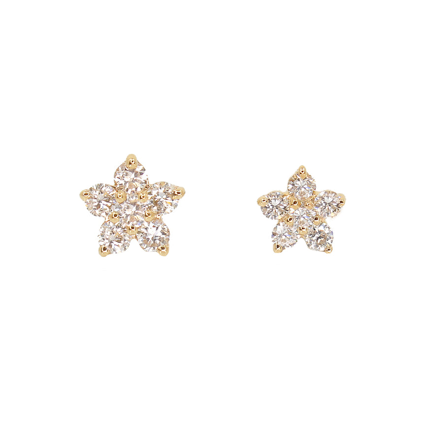 Gold Diamond Mini Flower Stud Earrings
