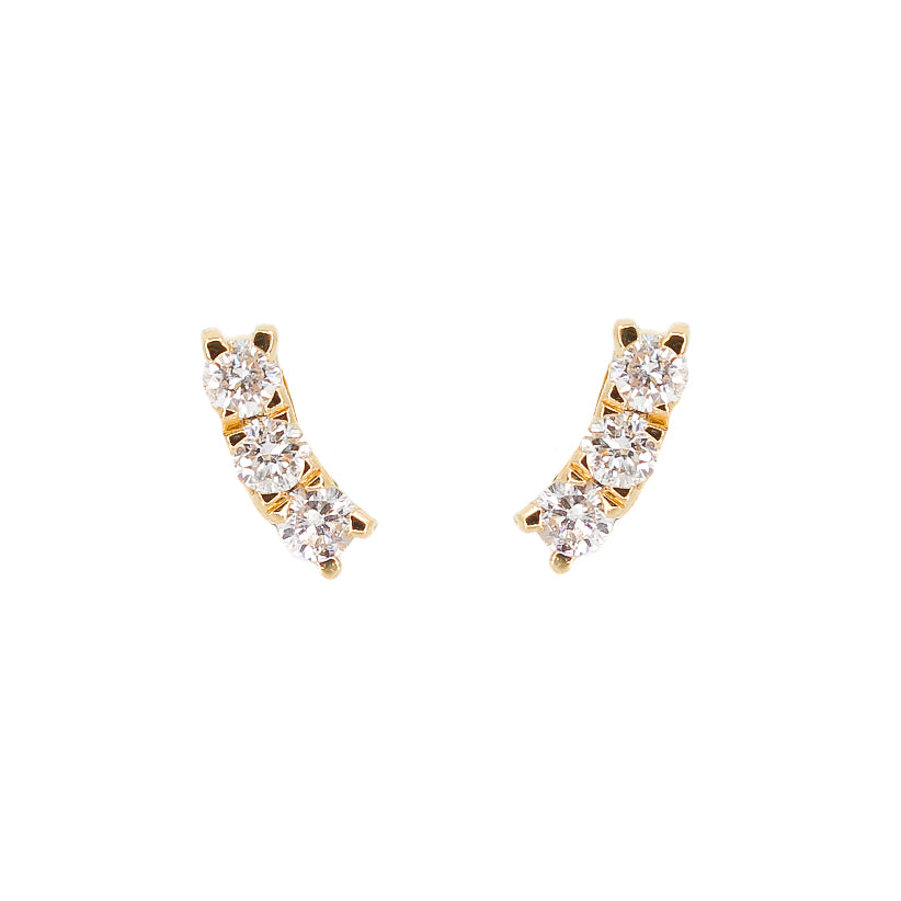 Diamond Mini Curve Bar Earring - 14KT Gold - Monisha Melwani Jewelry