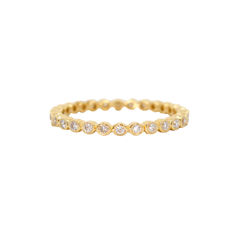 Gold Diamond Mini Bezel Band Ring- 14KT- Monisha Melwani Jewelry