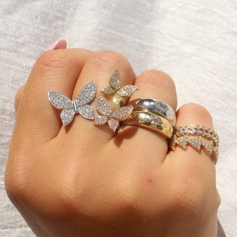Gold Diamond Trio Butterfly Ring