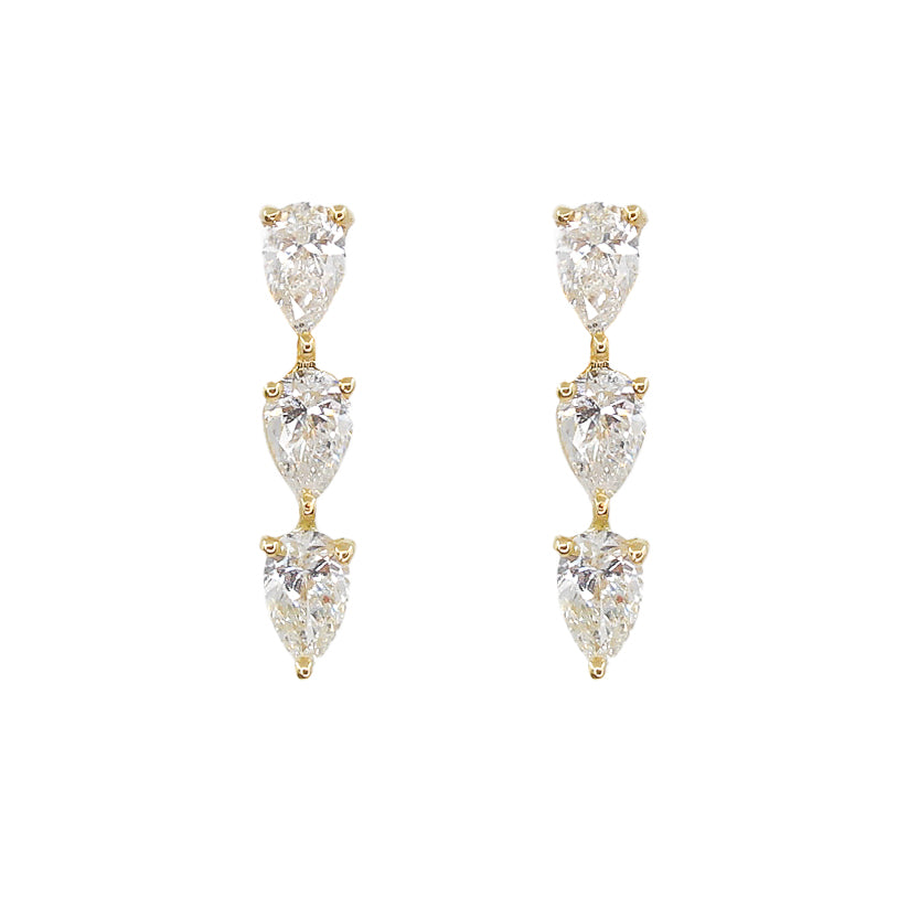 Gold Three Pear Diamond Stud - 14KT Gold - Monisha Melwani Jewelry