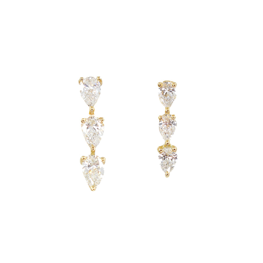 Gold Three Pear Diamond Stud
