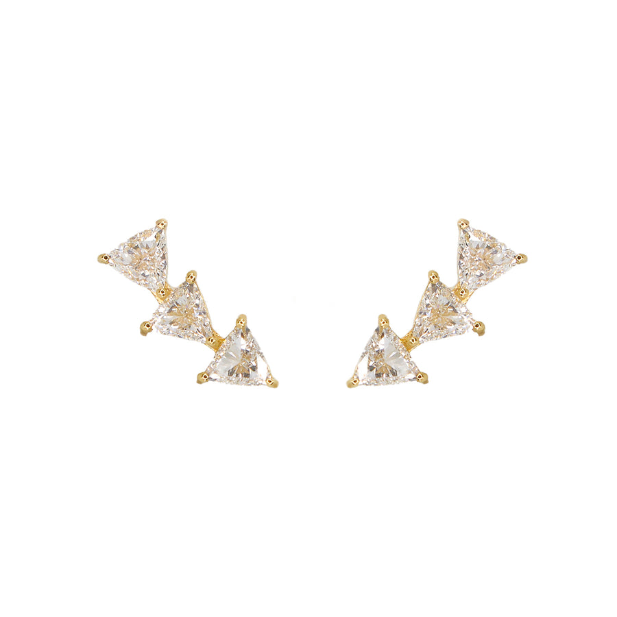 Gold Trillion Diamond Earring Climber- 14KT Yellow Gold Trillion Cut Climbers | Monisha Melwani Jewelry