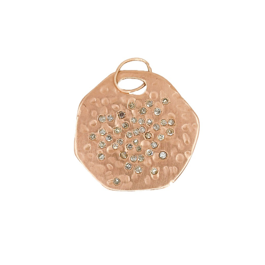 Rose Gold Hammered Pendant With Diamonds