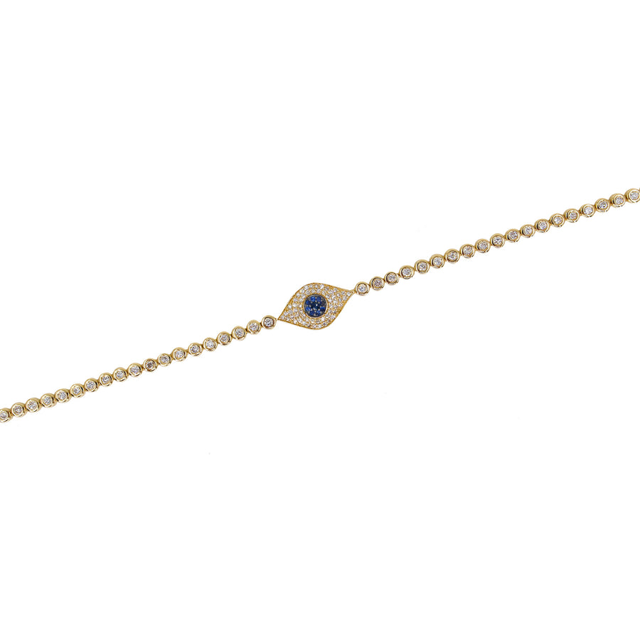 Gold Diamond Bezel Evil Eye Tennis Bracelet - 14KT Gold - Monisha Melwani Jewelry