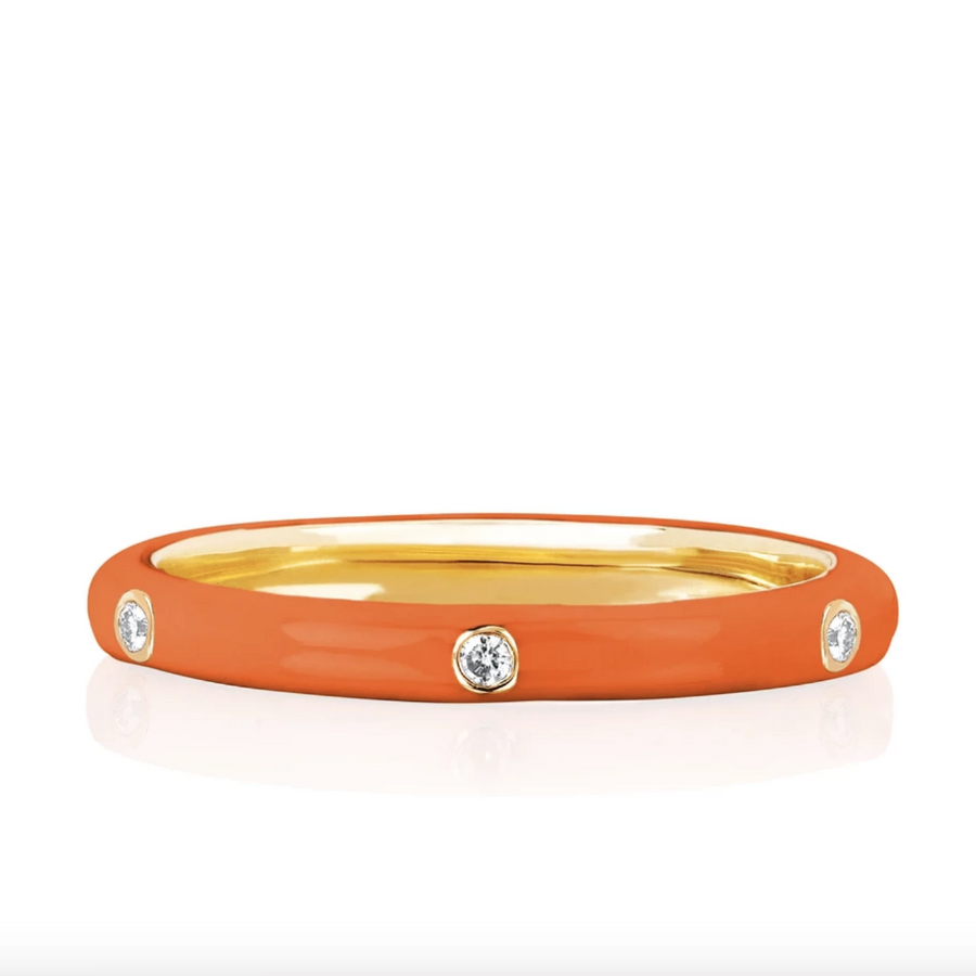 Diamond and Orange Enamel Stacked Ring