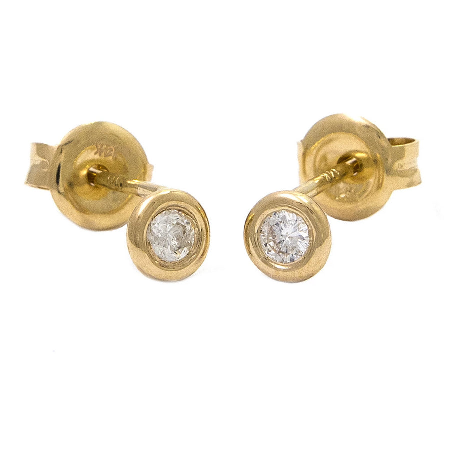 Gold Bezel Diamond Earrings - 14KT Gold - Monisha Melwani Jewelry