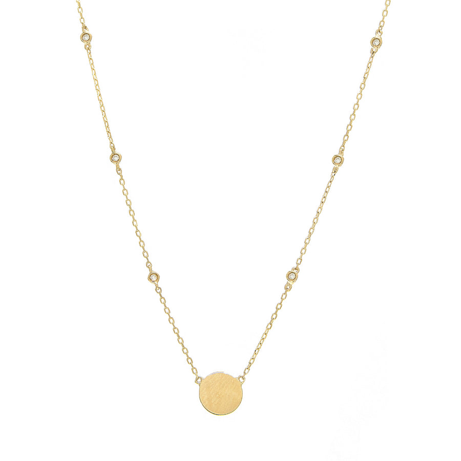 Yellow Gold Disk Bezel Diamond Necklace - 14KT Gold - Monisha Melwani Jewelry