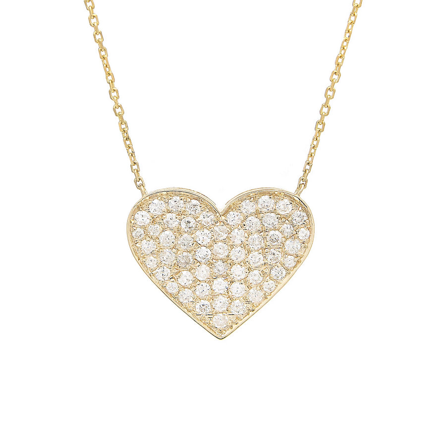 Gold Pave Diamond Heart Necklace