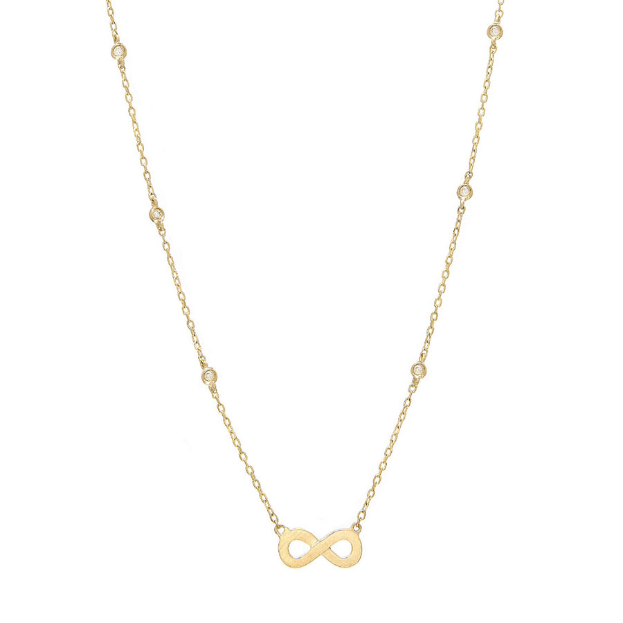 Yellow Gold Infinity Bezel Diamond Necklace - 14kt Gold - Monisha Melwani Jewelry