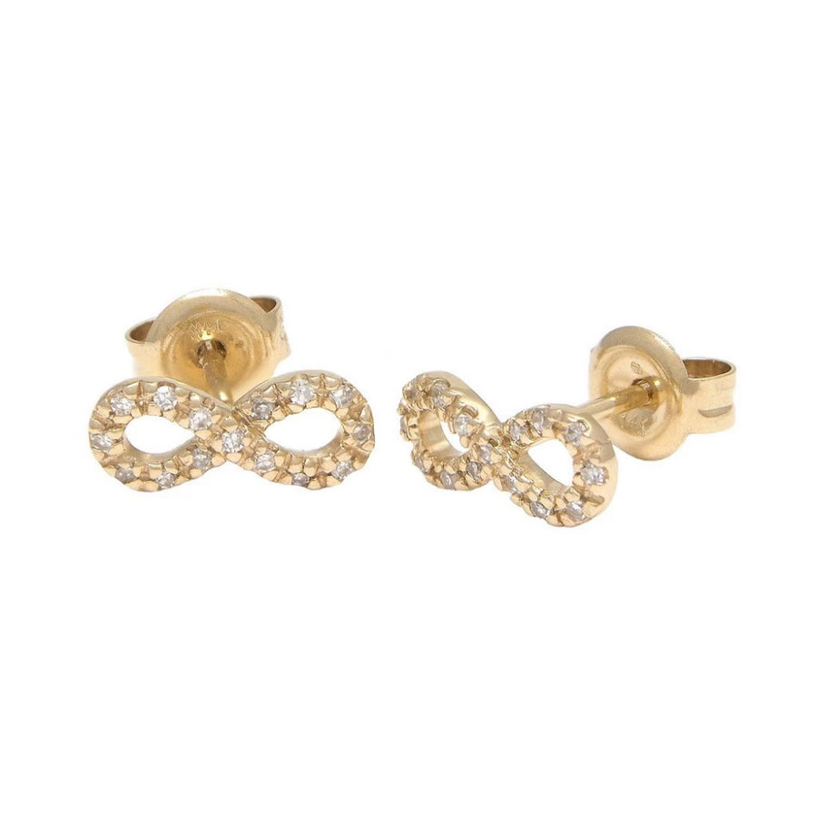 Gold Infinity Diamond Earrings - 14KT Gold - Monisha Melwani Jewelry