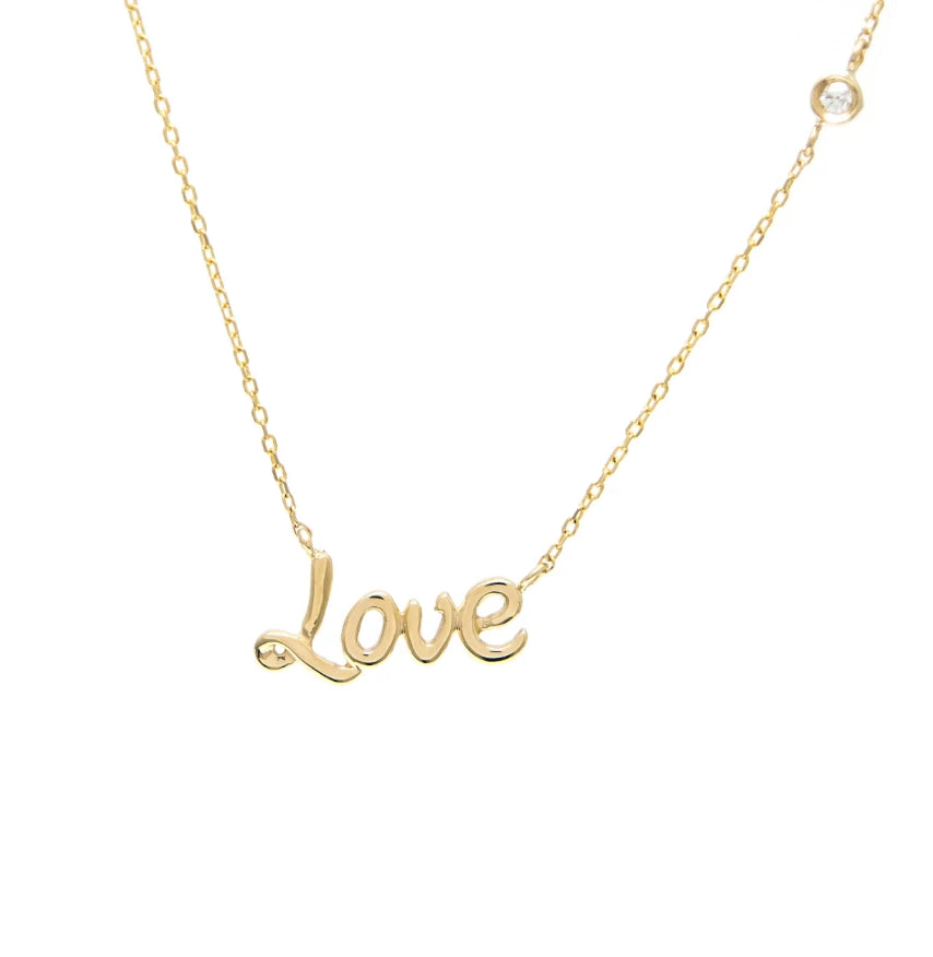 Gold Love Bezel Diamond Necklace - 14KT Gold - Monisha Melwani Jewelry