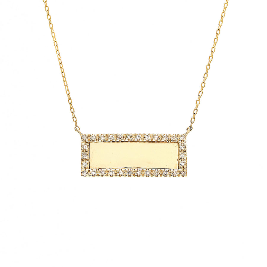 Yellow Gold Rectangle Bar Diamond Necklace - 14KT Gold - Monisha Melwani Jewelry