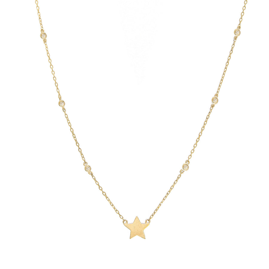 Yellow Gold Star Bezel Diamond Necklace - 14kt Gold - Monisha Melwani Jewelry