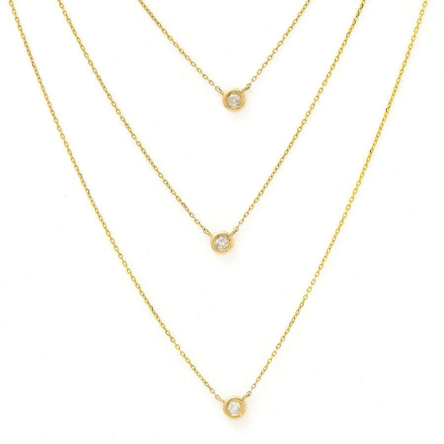 Yellow Gold Triple Layer Bezel Necklace