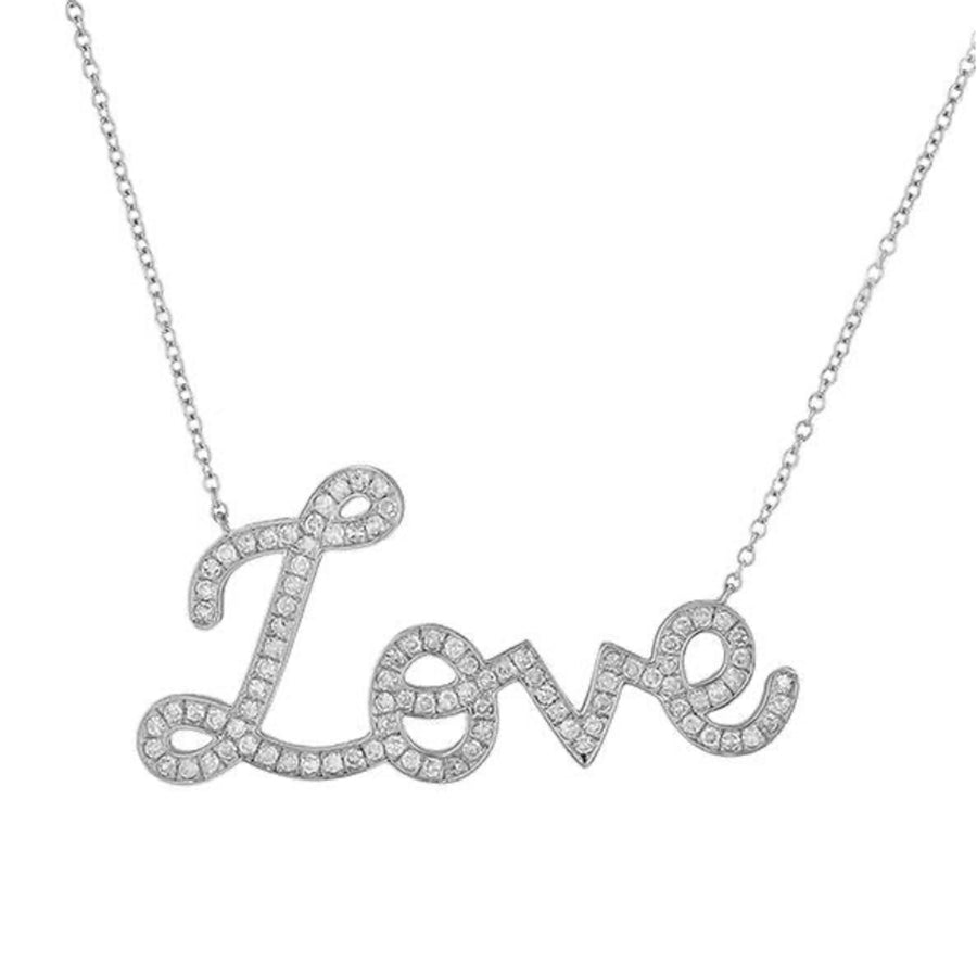 Gold Diamond Script Love Necklace - 14KT Gold - Monisha Melwani Jewelry