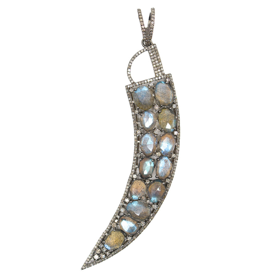 Sterling Silver Labradorite Diamond Pendant - Monisha Melwani Jewelry