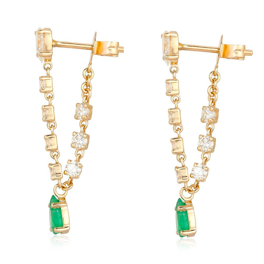 Gold Diamond Chain Earrings With Pear Emerald Drop - 14KT Gold - Monisha Melwani Jewelry