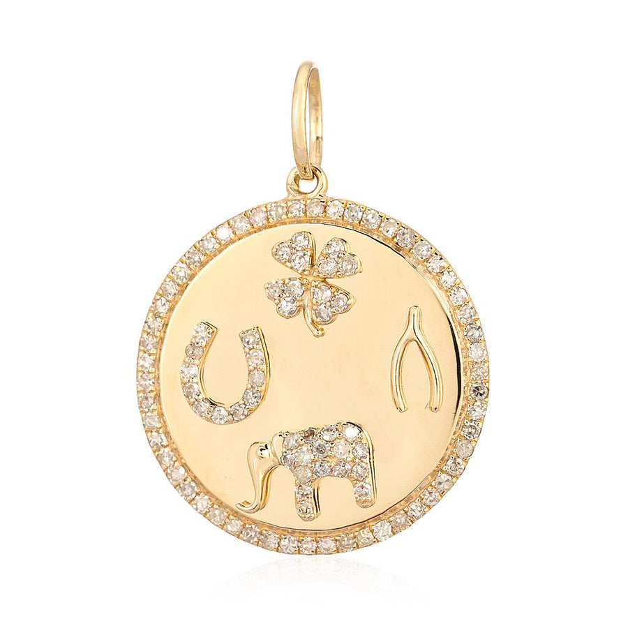 Gold Diamond Lucky Symbol Medallion Pendant - 14KT Gold - Monisha Melwani Jewelry