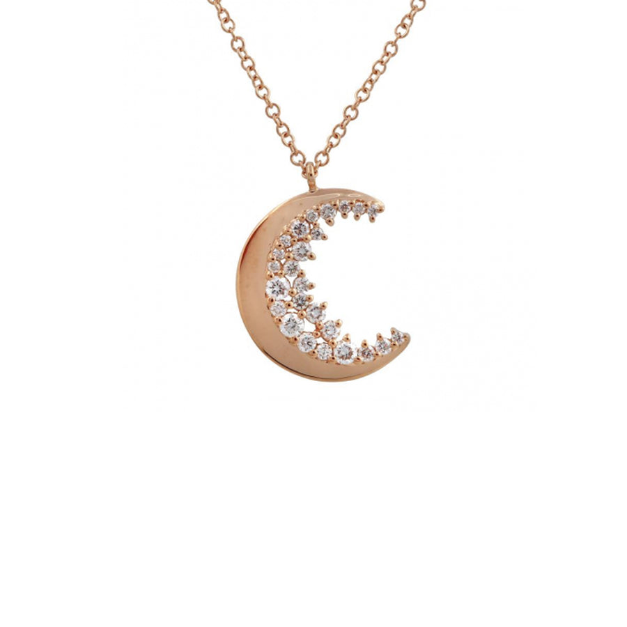 Rose Gold Crescent Moon Necklace - Monisha Melwani Jewelry