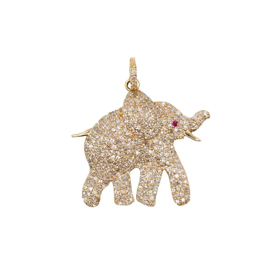 Gold Diamond Elephant Pendant - 14KT Gold - Monisha Melwani Jewelry
